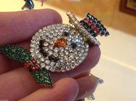 Fabulous Snowman colored rhinestone and crystal brooch pin image 3