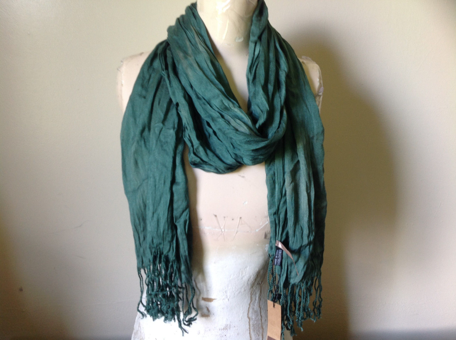 Forest Green Scrunched Style Silk Blend Scarf by Look Tags Attached Tasseled