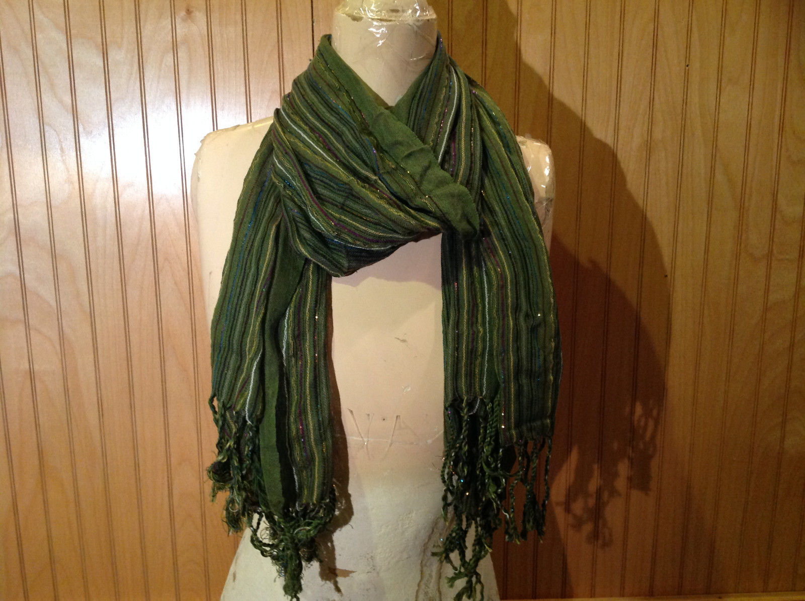 Forest Green Tasseled Fashion Scarf Light Weight Material NO TAGS