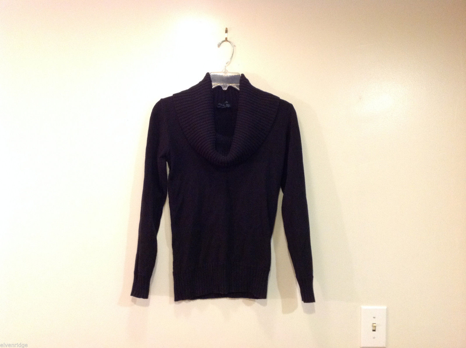 Forever 21 Slouch Cowl-Neck Black Long Sleeve Pullover Sweater, size S
