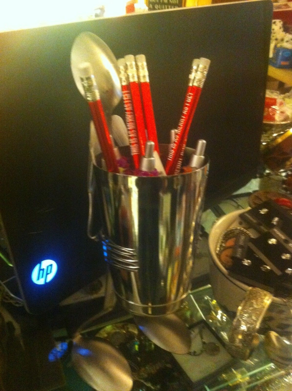 Forked Up Art pencil or pen cup holder spoon man USA made 4 person w everything
