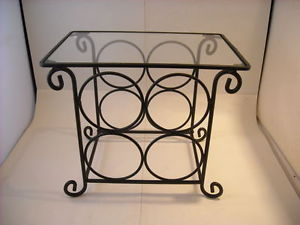 Four Bottle Wine Rack w Glass Serving Top