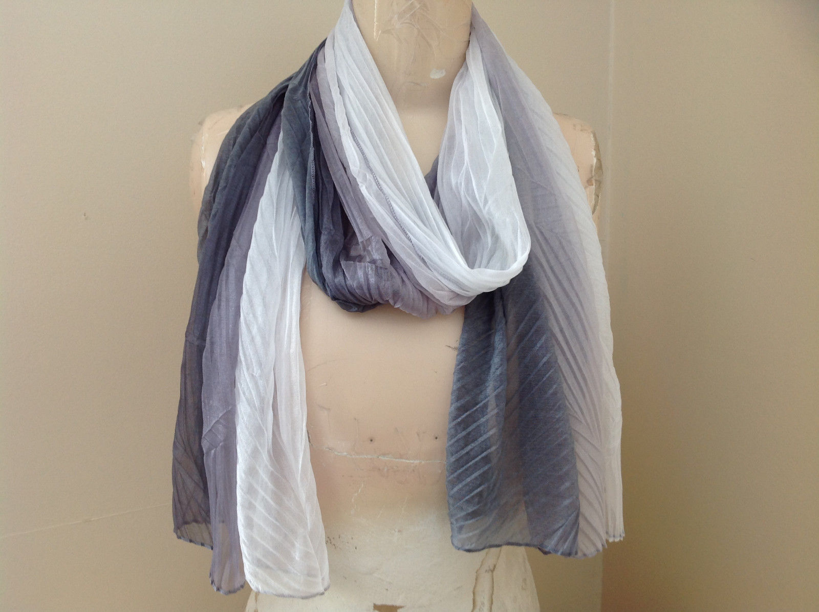 Gray Watercolor Scrunched Style Scarf Almost a Pleated Scrunched Look NO TAG