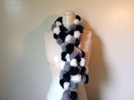 Gray White and Black Rabbit Fur Ball  Shaped Attached with Strings Scarf