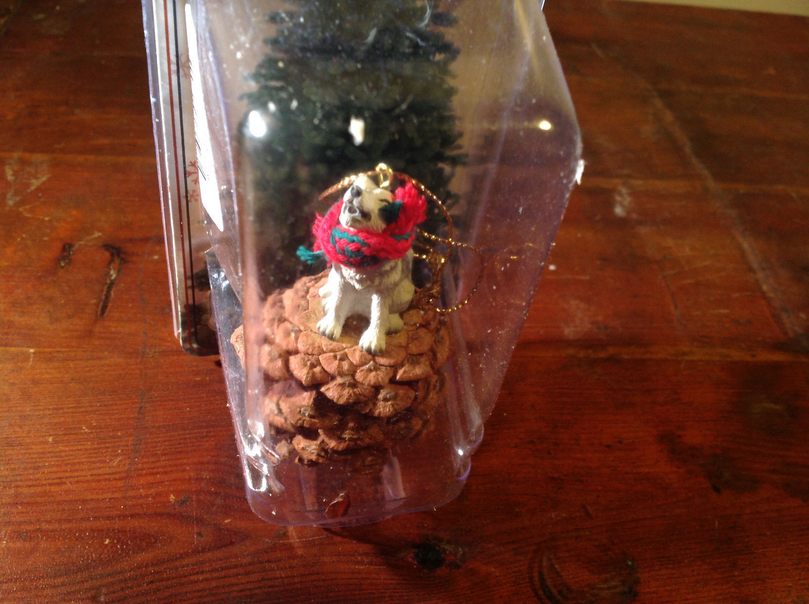 Gray Wolf Pine Cone Pet Ornament with Christmas Scarf Real Pine Cone