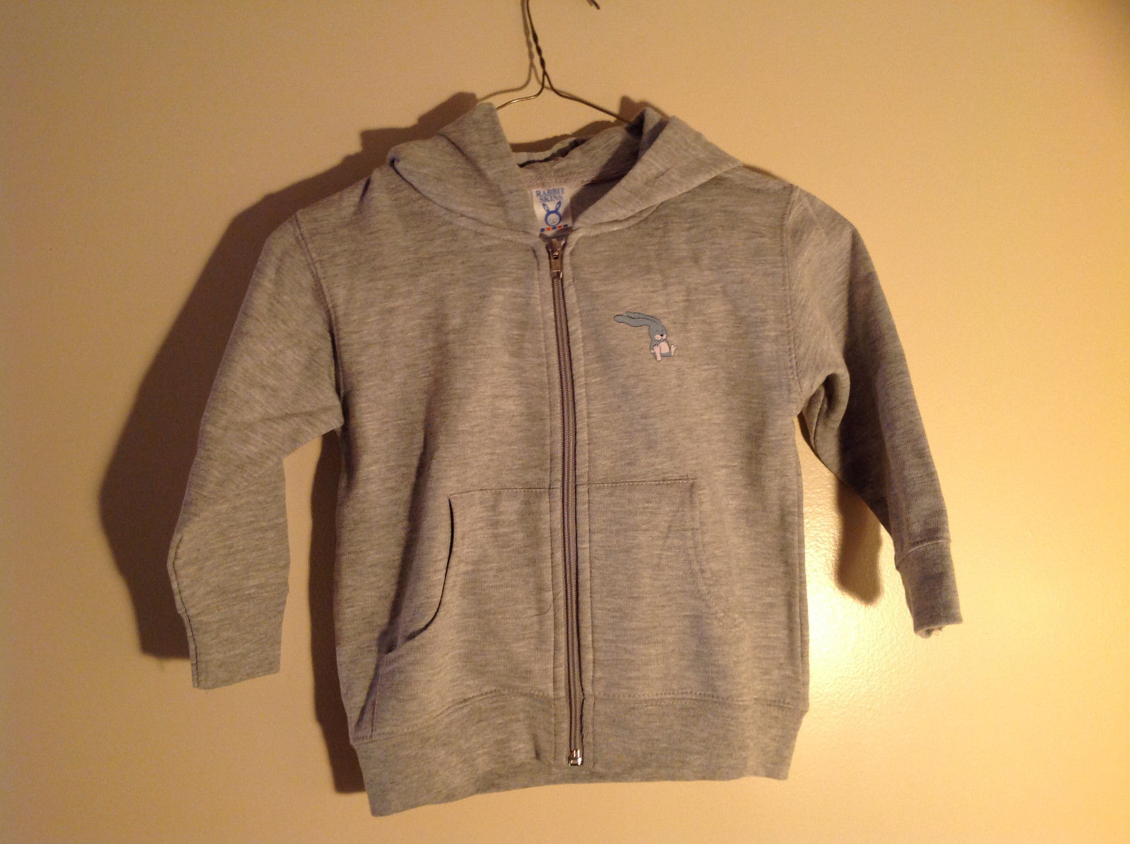 Gray Zipper Up Hoodie Jack Rabbit t Chest w elephant Size 4 whimsical