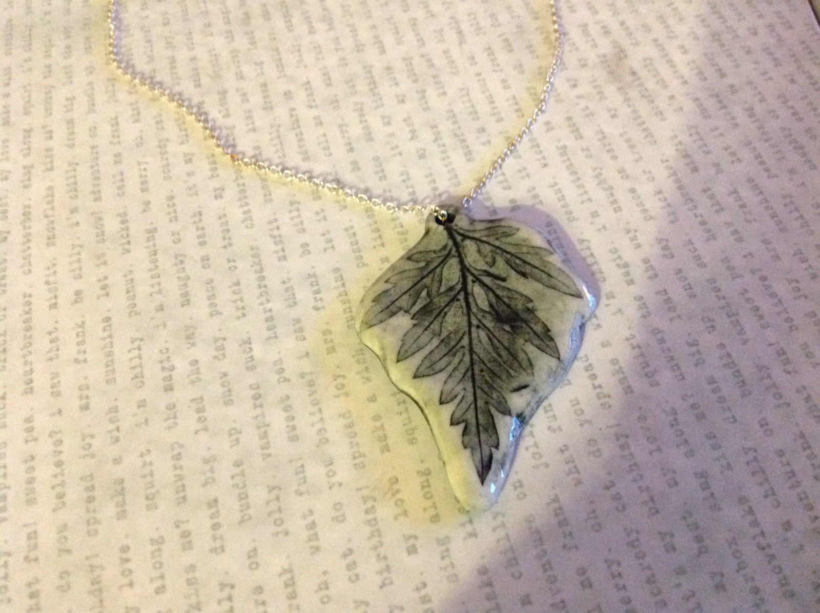 Green Gray Fern Leaf Ceramic Handmade Pendant Necklace Sterling Silver Chain
