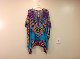 Fashion Bug Summer Kimono Style Multicolor Blouse w/ Turquoise Tank Top, Size XL image 2