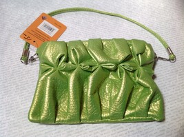Green Half Bow Clutch Bag with Zipper Closure Mountain Mama Long Shoulder Strap