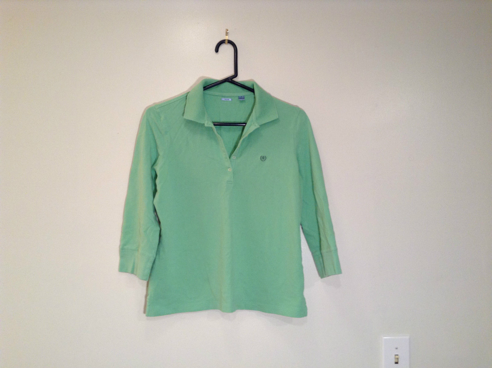 Green IZOD Size M Three Quarter Length Sleeves Collared Polo Top