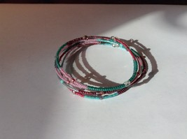 Green Pink Red Beaded Coil Adjustable Bracelet
