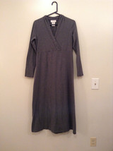 Gray V Neck Long Sleeve Real Comfort by Chadwicks Long Dress Size Medium