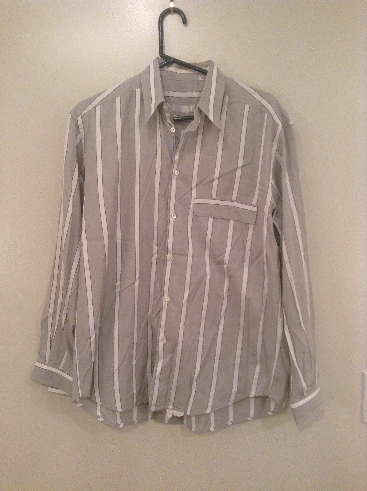 Gray and White Striped Button Up Shirt Chest Pocket NO TAGS Measurements Below