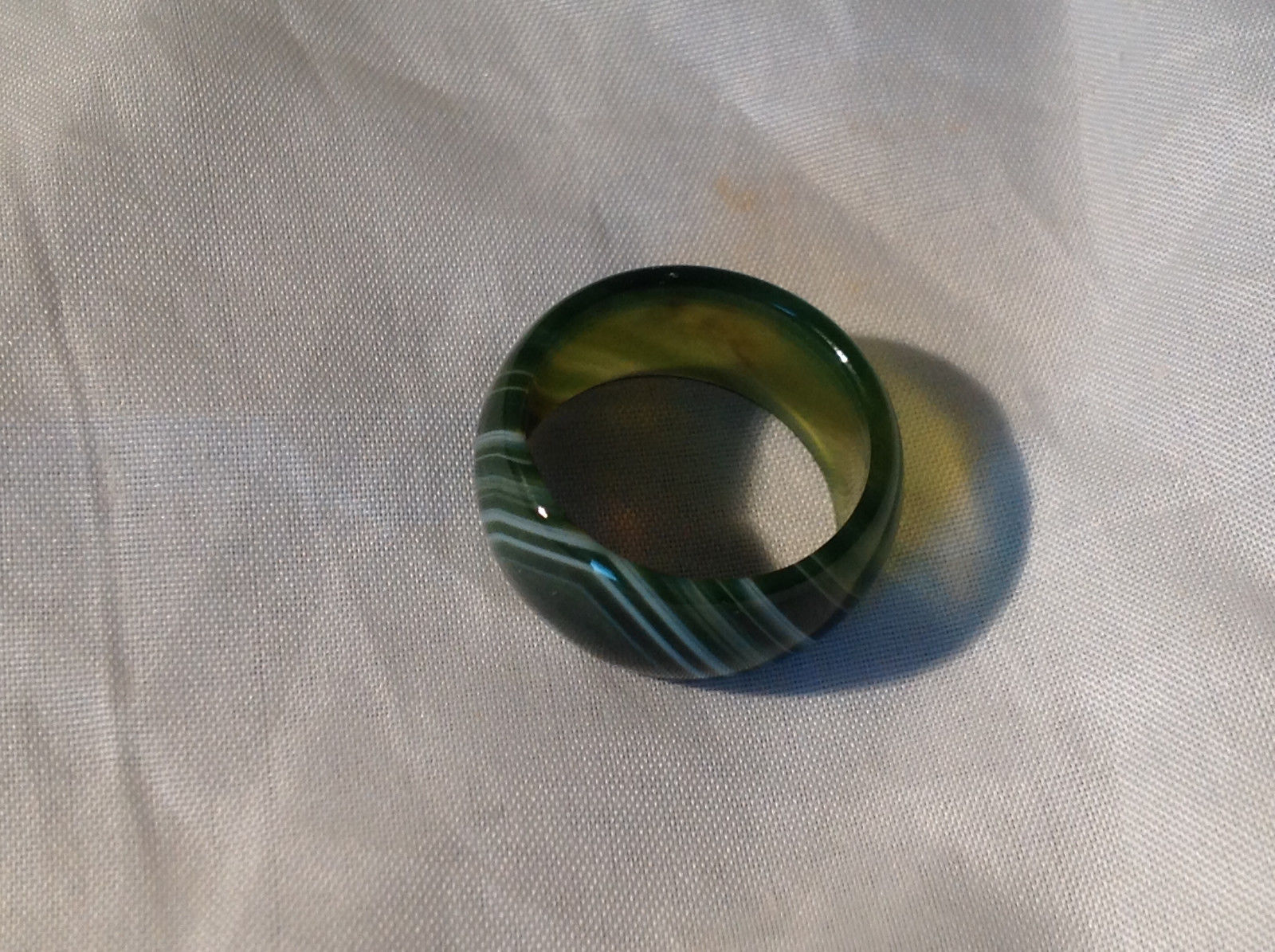 Green White Banded Agate Natural Stone Wide Band Ring Size 8.25