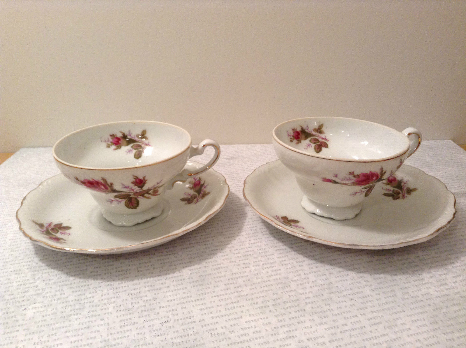 Four Piece Vintage Gilded Teacup and Saucer Set Floral Pattern Bone China