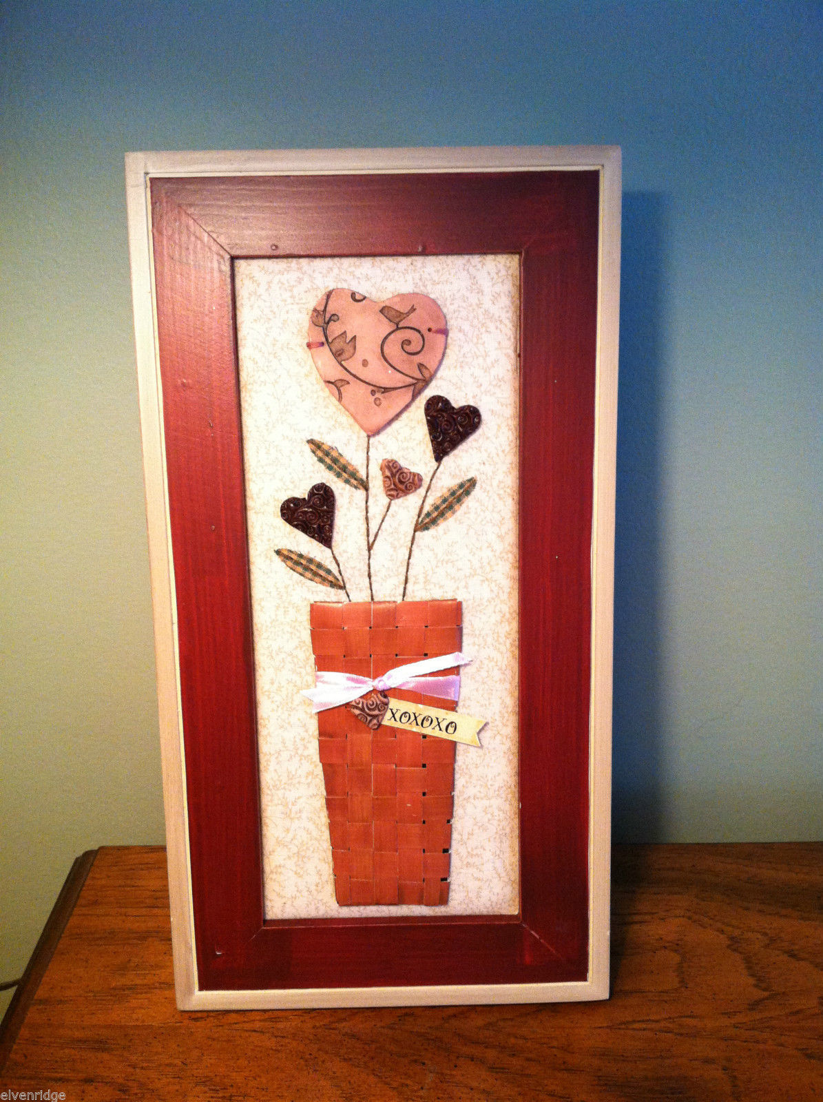 "Framed Basket of Wooden Heart Flowers with ""XOXOXO"" tag wall art"
