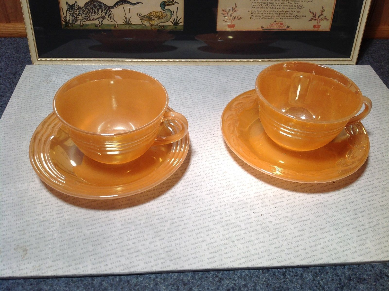 Four Piece Set of Cups and Saucers Made in USA Peach Colored The King Oven Ware