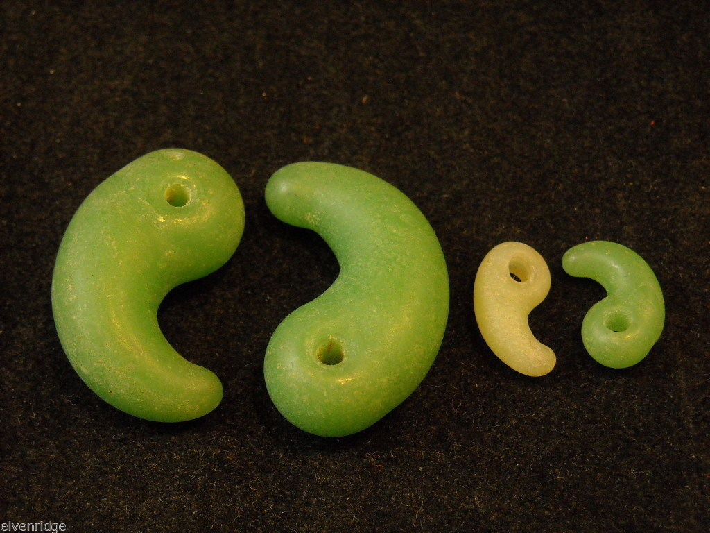 Four Jade Beads Paisley shaped