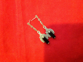 Geometric Art Deco Silver Post Back Dangle Earrings with Black Rectangular Stone image 4