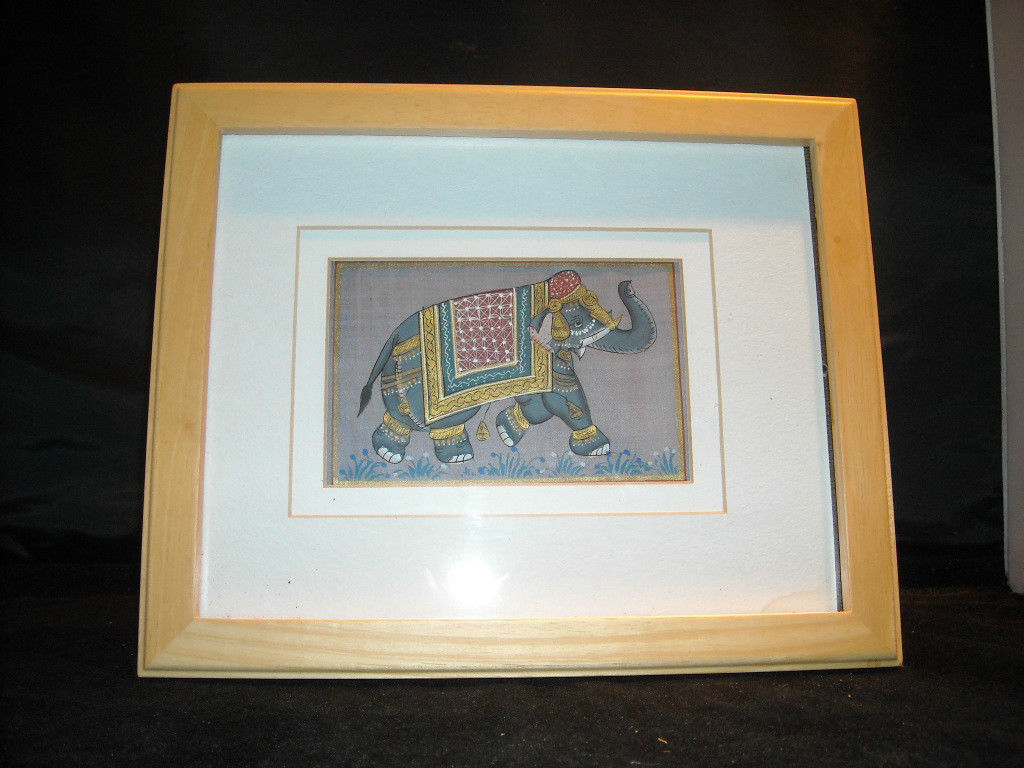 Framed Asian Indian Elephant Painting on Silk