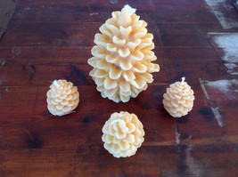 Four Piece Set of Pure Bees Wax Pine Cone Shaped Candles