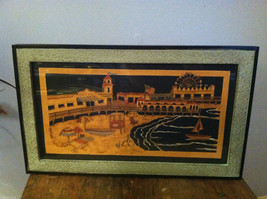 Framed Beach Boardwalk Funland Paper Cutting Wa... - $89.09