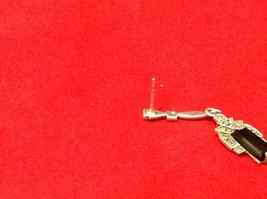 Geometric Art Deco Silver Post Back Dangle Earrings with Black Rectangular Stone image 12