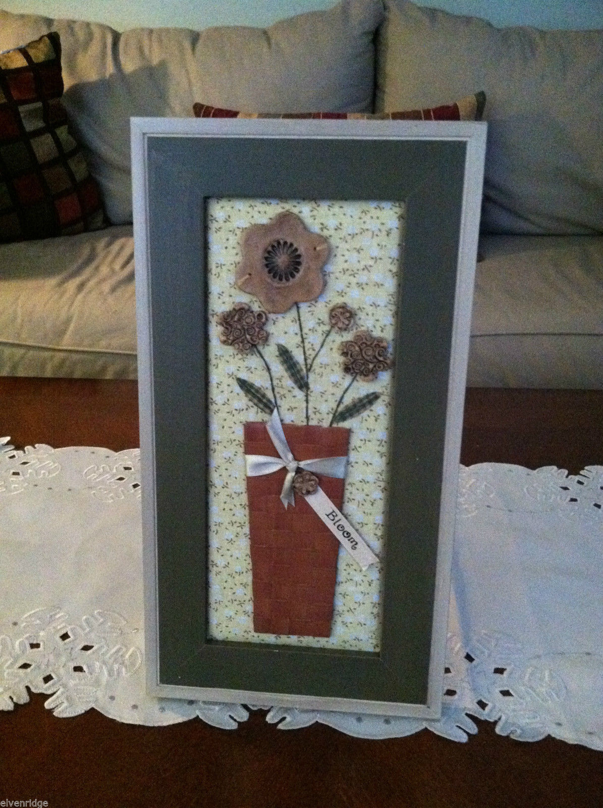 "Framed 3D Flowers in Basket with Stitching detail wall art - ""Bloom"" tag"