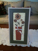 "Framed 3D Flowers in Basket with Stitching detail wall art - ""Bloom"" tag image 1"