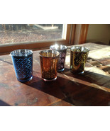 Four Piece Vintage Style Mercury Glass Candle Holders Orange Green Blue ... - $31.67