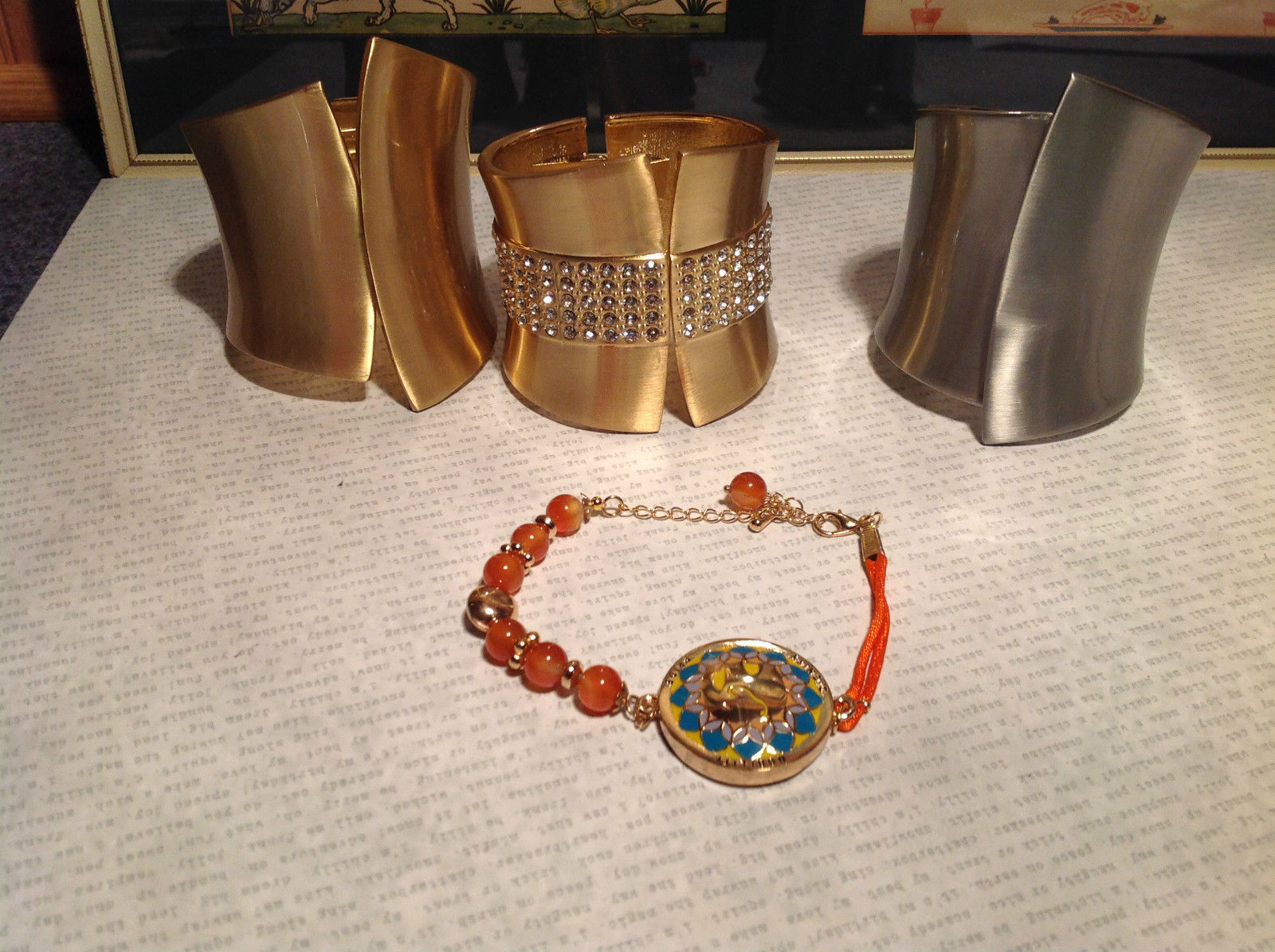 Four Piece Jewelry Lot Bracelets for Repurposing or use with flaws