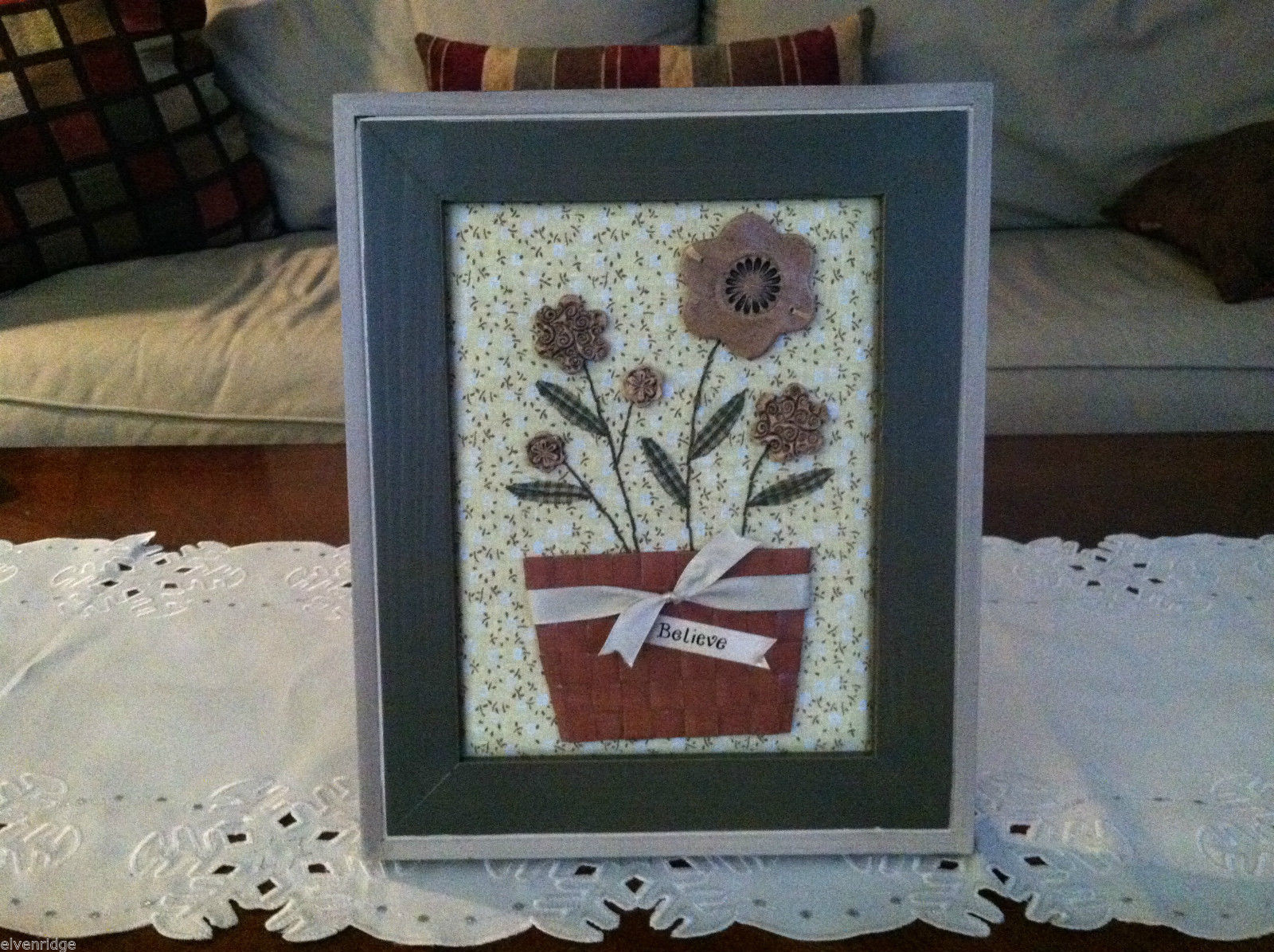 "Framed Basket of Wooden Flowers with ""Believe"" tag wall art"
