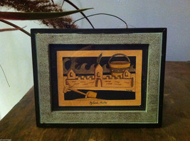 Framed Beach Sand Castle Paper Cutting Wall Decor Scherenschnitte image 1