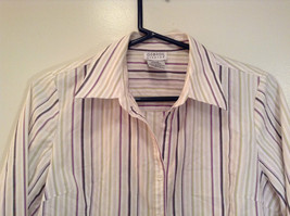 George Long Sleeve Button Up Shirt White with Violet Black Green Stripes Size M image 3