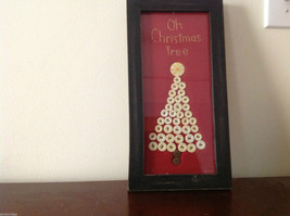 Framed Christmas tree made of fabric and buttons rustic primitive under glass image 1