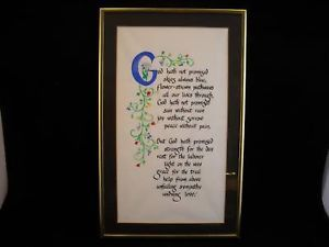 Framed Calligraphy with flower illustration