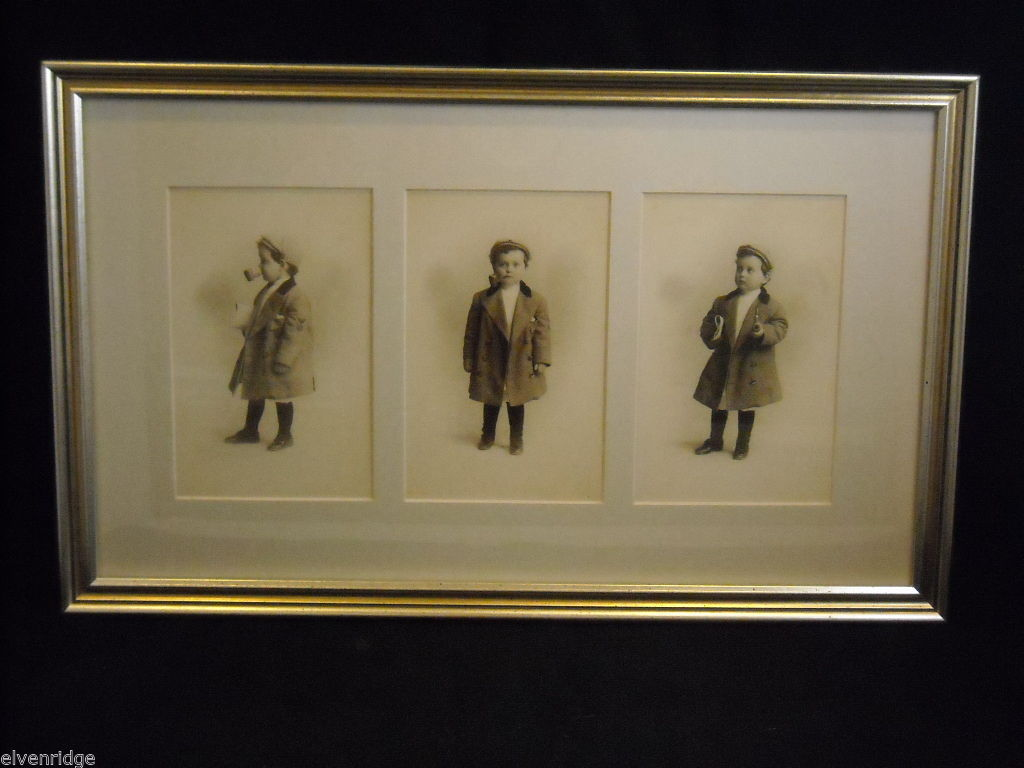 Framed Old Fashioned Print Photo of Boy with jacket and an old man's pipe
