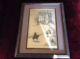 Framed Pen Art by Wendy Lewis Made in 1981 Nobles Walking Toward a Castle