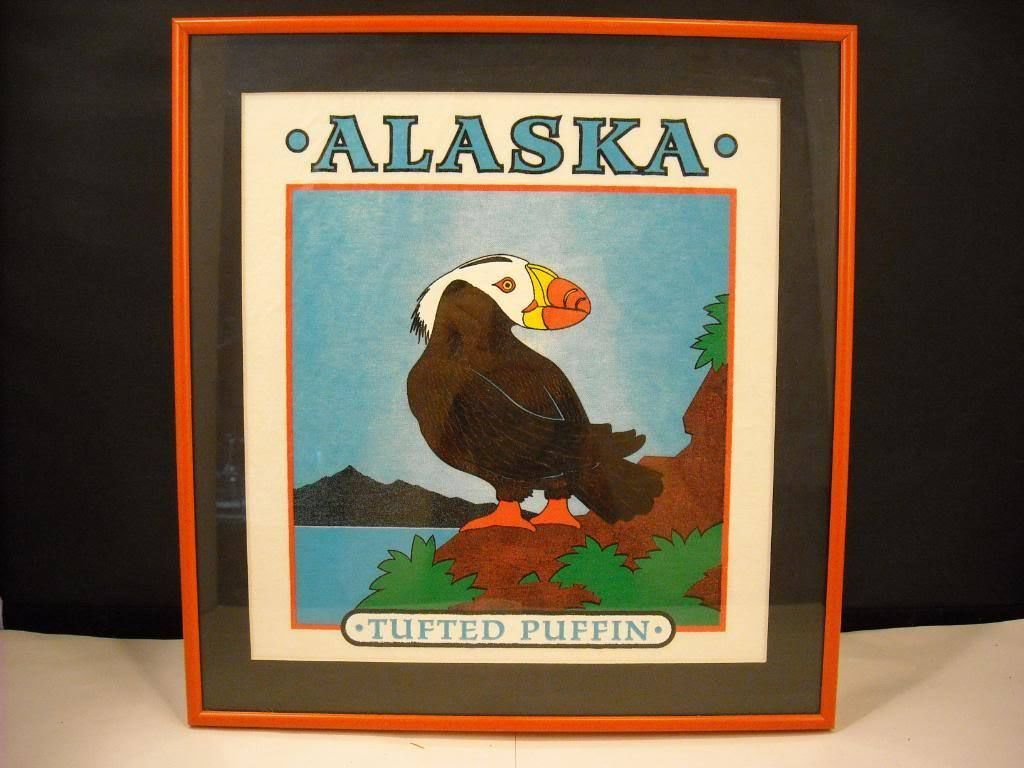 Framed Print Alaska Tufted Puffin textured ink