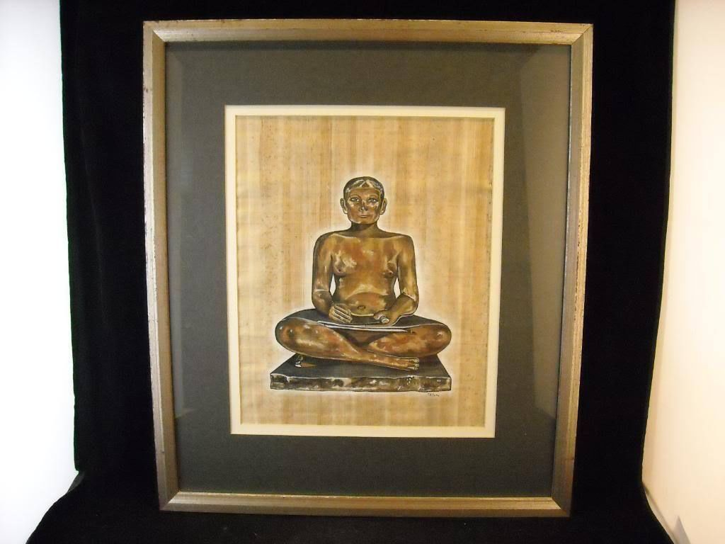 Framed Painting Seated Egyptian scribe painted presumed papyrus signed Tatam