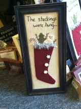 "Framed ""The Stockings Were Hung..."" Hand Stitched Picture Christmas Decor"