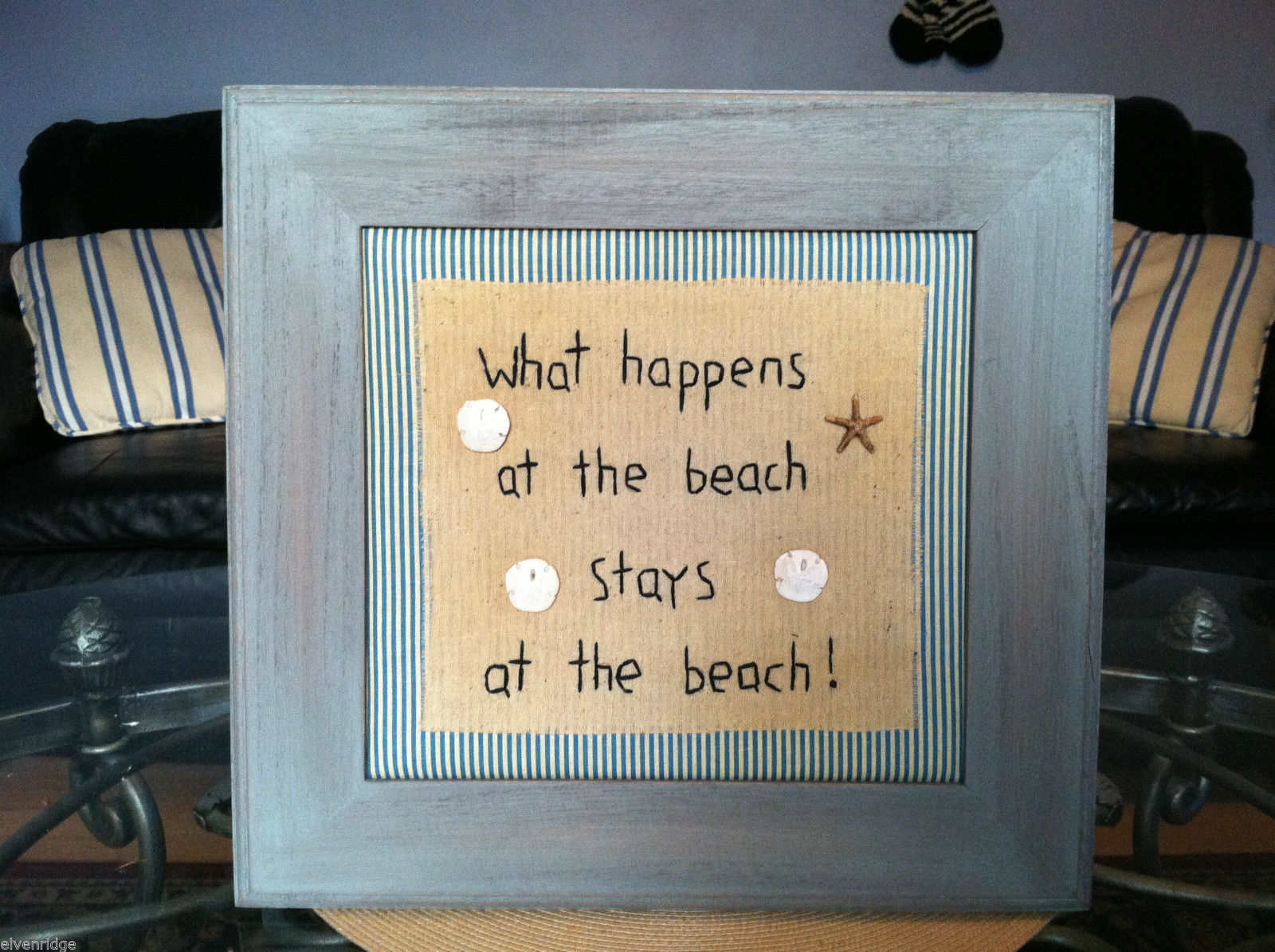 "Framed ""What Happens at the Beach..."" Embroidered Beach House wall art w shells"