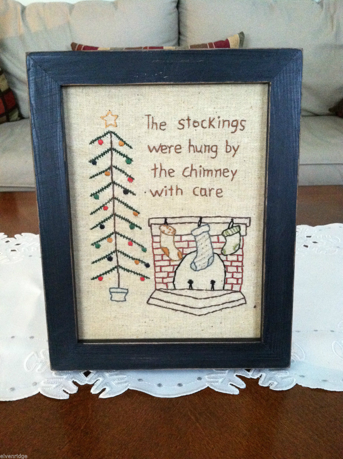 "Framed ""The Stockings Were Hung by the Chimney..."" Stitched Christmas Decor"