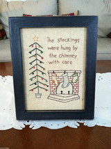 """Framed """"The Stockings Were Hung by the Chimney..."""" Stitched Christmas Decor image 1"""