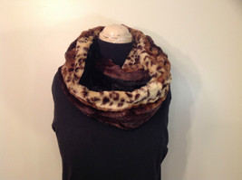 Faux Fur Infinity Scarf Reversible Leopard Print Black 100 Percent Polyester image 2