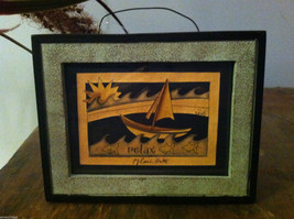Framed Relax Sun  Waves Sailboat Paper Cutting Wall Decor Scherenschnitte
