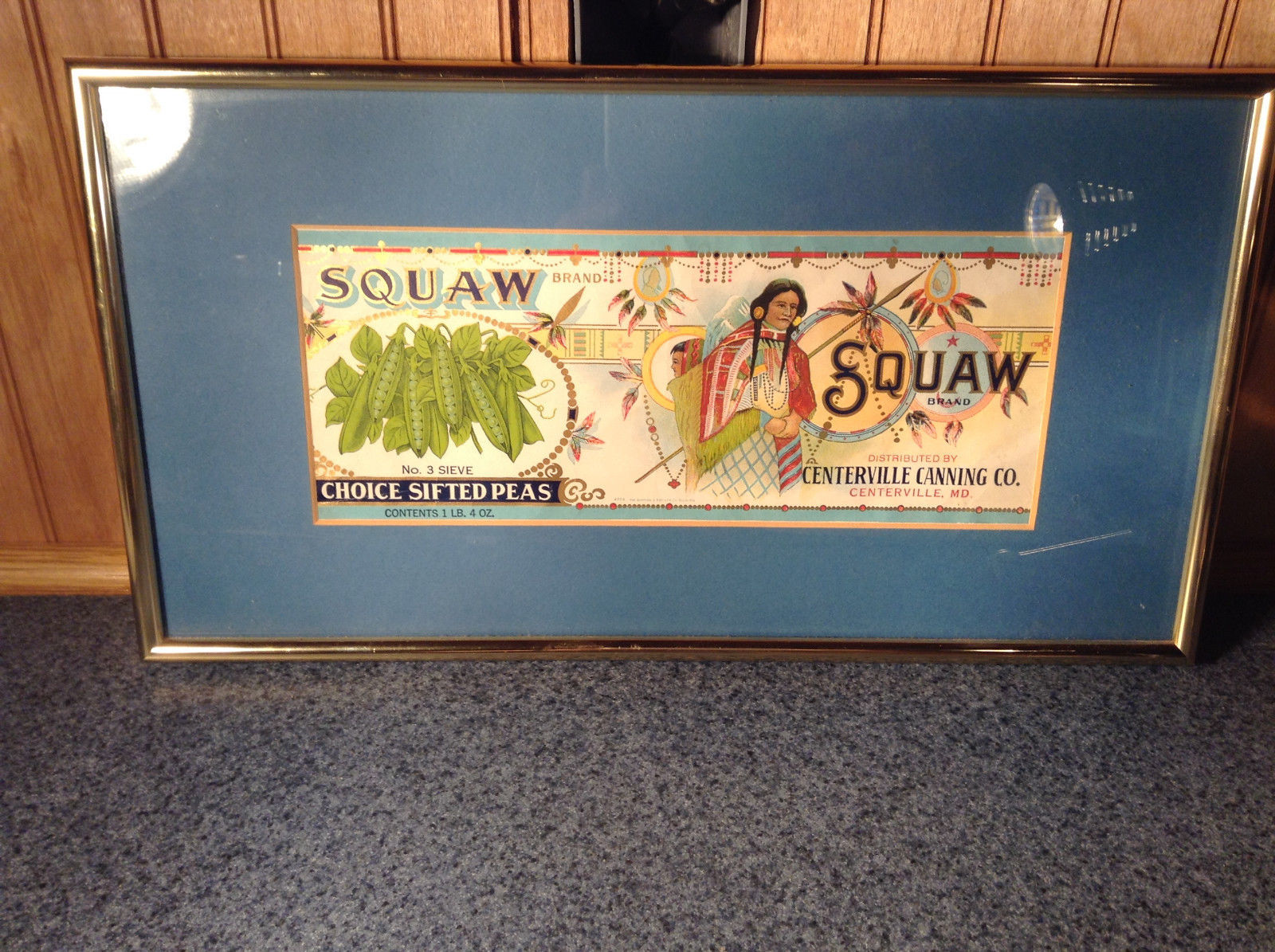 Framed Vintage Squaw Brand Peas Can Label Novelty Historic Measurements Below