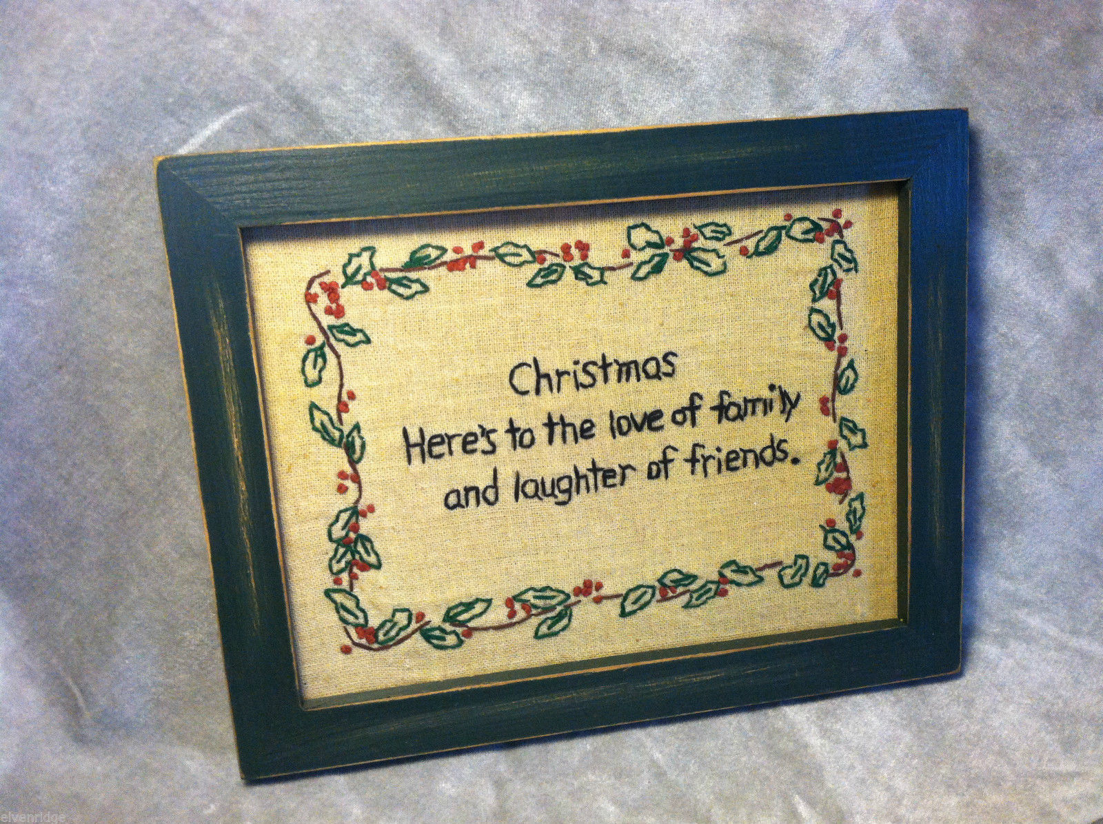 "Framed Stitching ""Christmas: Here's to the Love of Family and Laughter..."""