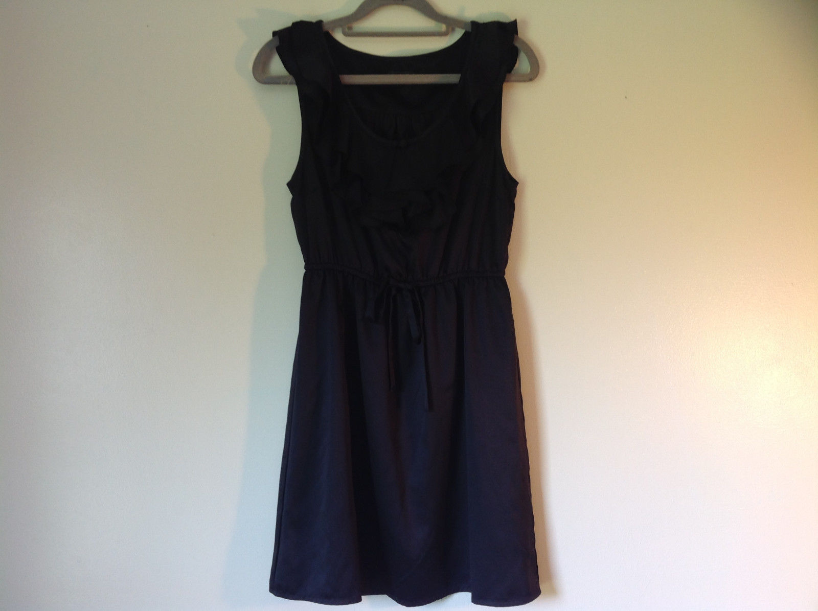 Forever 21 Sleeveless Ruffle Little Black Dress Scoop Neckline No Size Tag