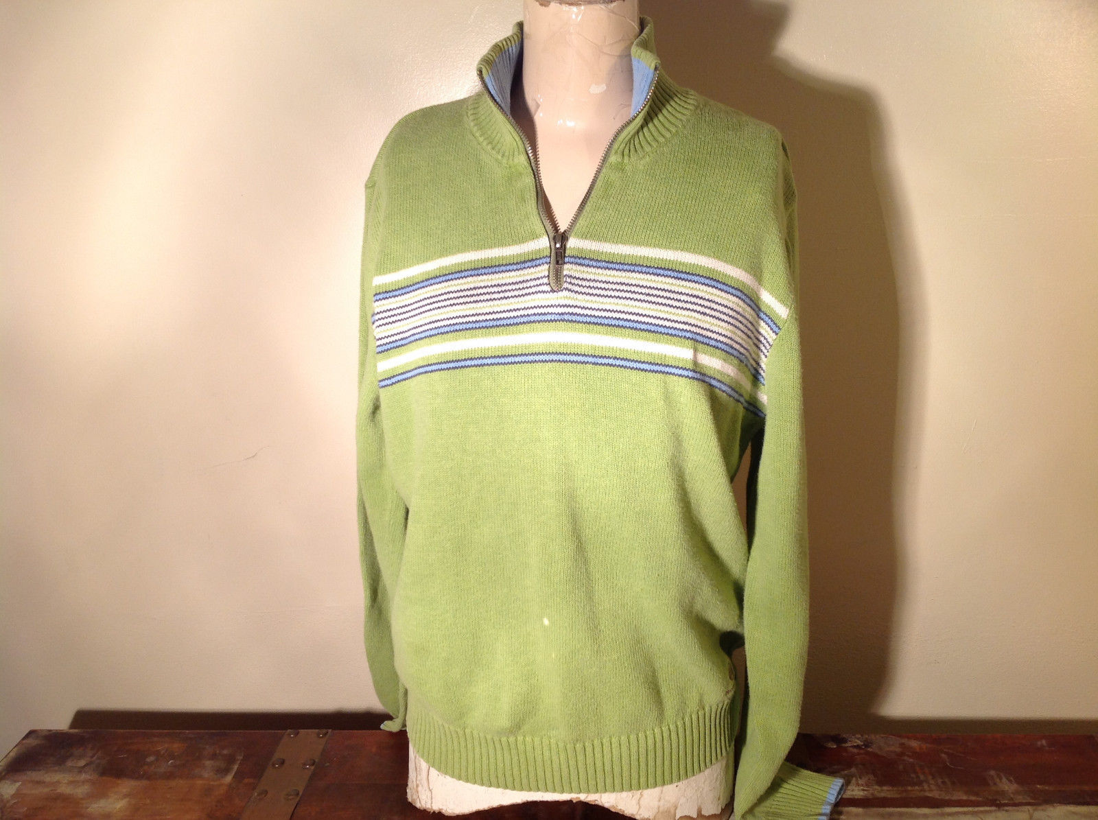 Green with Stripes Hollister Sweater Zip Neck Closure Light Blue Accents Size L